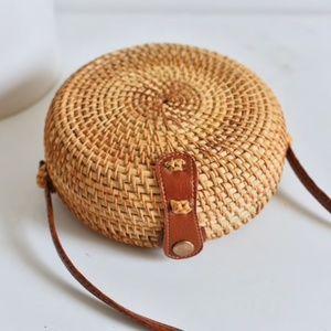 Round Straw Brown Crossbody Beach Bag